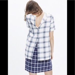 Madewell plaid back button top